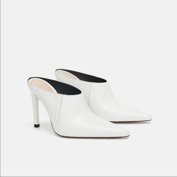 Zara Shoes | Zara White Leather Heeled